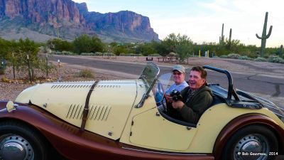 Bob and Neil, in Neil's very cool historic Morgan.  Lost Dutchman State Park, Arizona.