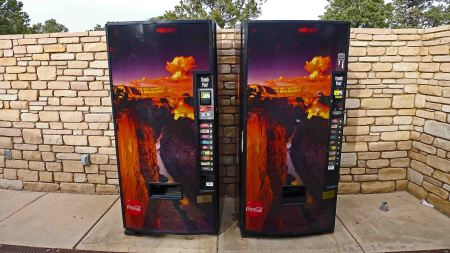 We saw quite a few tourists clustered around these Coke machines at the end of Hermit's Rest Road, clamoring for a view of the 'real' Grand Canyon, during the cloud inversion
