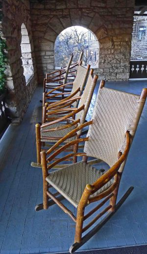 Rocking chairs, porch of El Tavor Hotel, GC South Rim