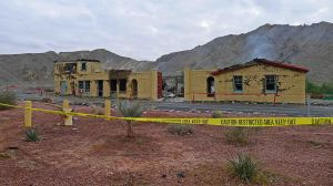 View of burned out Furnace Creek Inn Laundry Building
