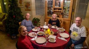 Debbie, Gary, Dee Dee and Thee Bob at an excellent post-Thanksgiving, Pre-Christmas turkey dinner prepared by Debbie.