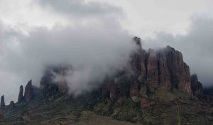Storm clouds over Superstition Mountain, Lost Dutchman State Park, Arizona