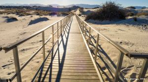 Metals walkway over protected area, White Sands National Monument