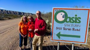 Dee Dee with our good friends, Gary and Debbie, at the entrance to the Oasis Bird Sanctuary, north of Benson, Arizona