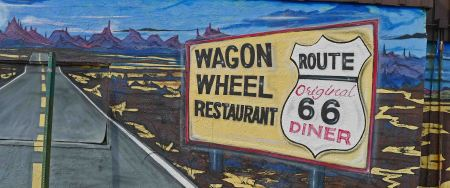 Old restaurant wall mural, Needles, CA