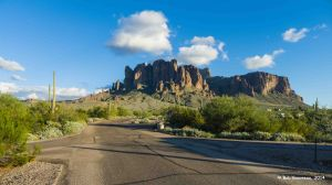 View of Superstition Mountain from our campsite at Lost Dutchman State Park