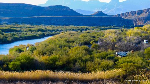 View of Mexico, the Rio Grande River and Texas, Big Bend National Park.  Look carefully and you can see our 5th wheel in the left center of the image