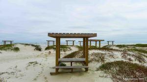 Beach cabanas, Mustang Island State Park, near Corpus Christi, Texas