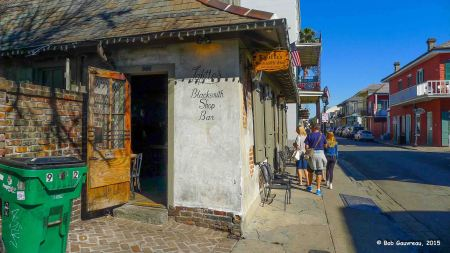 The Blacksmith Shop Bar, Bourbon Street; one of the oldest bars in the United States, serving drinks libations continuously for over 250 years.  We had Bloody Mary's here at 10:30 AM, and that was pretty much the end of the day...