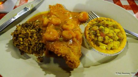Fried catfish with shrimp sauce, dirty rice and smoked corn, Prelean's Cajun Restaurant, Lafayette, LA