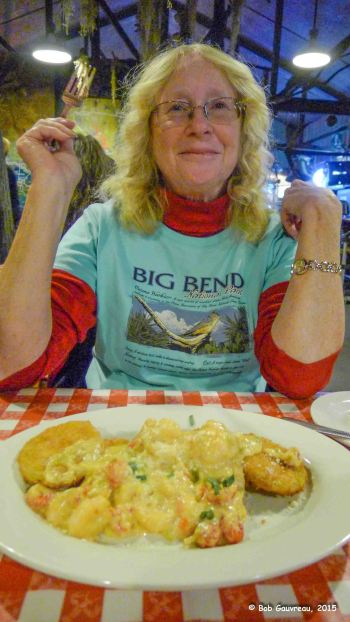 Yum yum!  Fried green tomatoes with shrimp sauce, Prelean's Cajun Restaurant, Lafayette, LA