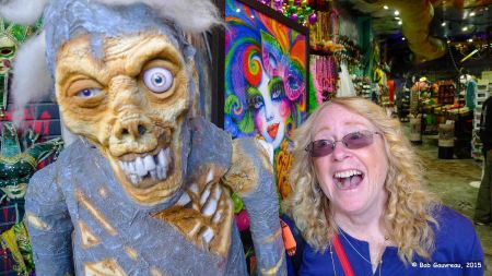 Dee Dee and  her new friend, voodoo shop in the French quarter