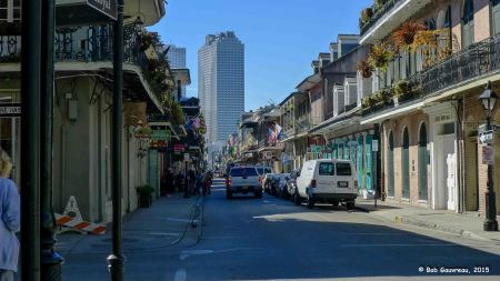 Looking down Bourbon Street towards Canal Street and the downtown area