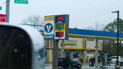 Diesel price, just outside of Galveston, Texas.  We drove a mile further down the road and it was $2.49/gallon