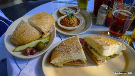 Mufuletta sandwiches, black beans and rice, and jambalaya, Napoleon House, French Quarter