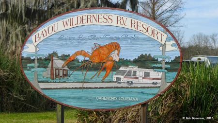 Entrance to the Bayou Wilderness RV Resort (of sorts), Lafayette, LA