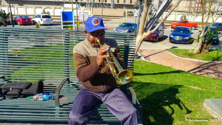Incredible trumpet player at Waterfront Park, near the French Quarter