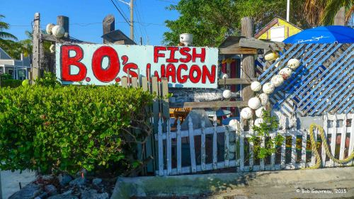 B.O.'s Fish Wagon, Key West, Florida.  We had beer and conch fritters here.  The inside was funkier than the outside...