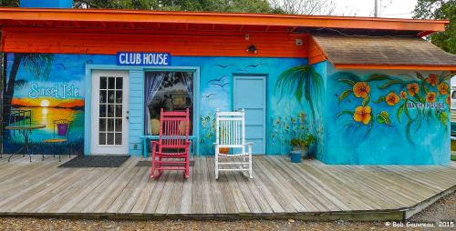 Porch at the Sunset RV Park, Cedar Key, FL.