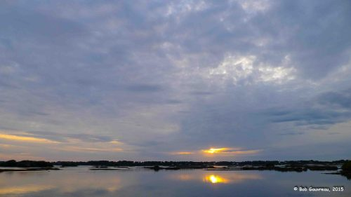 Sunset from our site at the Sunset RV Park, Cedar Key, FL.