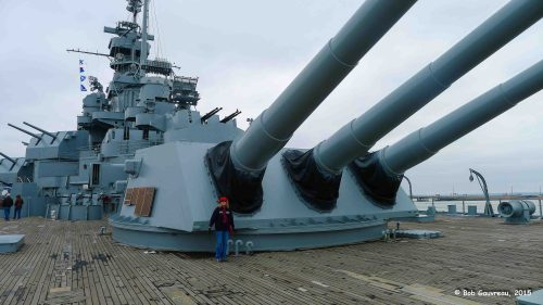 Dee Dee on the USS Alabama in Mobile.  Big-ass guns, huh?