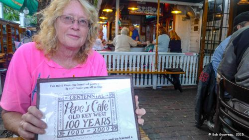 Dee Dee, at Pepe's Resturant in Key West.  Pepe's is the oldest restaurant in Key West, in continuous operation for over 100 years.  It was about a block from our B & B; we ate there every morning.