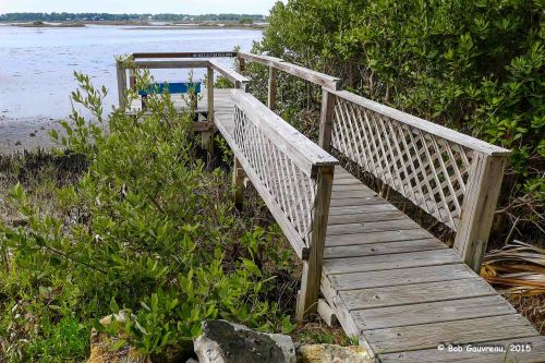 The dock in front of our site, at the Sunset RV Park, Cedar Key, FL.