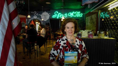 Our wonderful host and owner, Ruby, at the Spot of Tea restaurant in old downtown Mobile, Alabama.