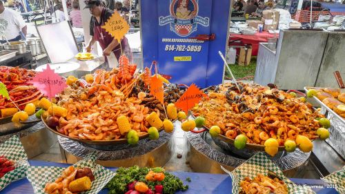 Platters of food at the Seafood Festival in Everglades City, Florida.