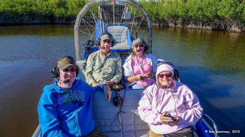 On the airboat in the Everglades, with Jim and Linda, a couple from Ontario that we met in Chokoloskee.  Interesting couple...