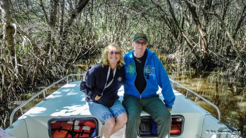 Us, in the a mangrove tunnel, Everglades National Park.