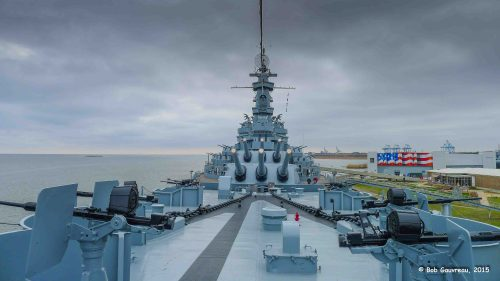 In Mobile, Alabama.  From the bow of the USS Alabama looking aft.