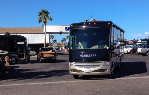 Just picked up the new RV...leaving the lot at LaMesa RV in Mesa