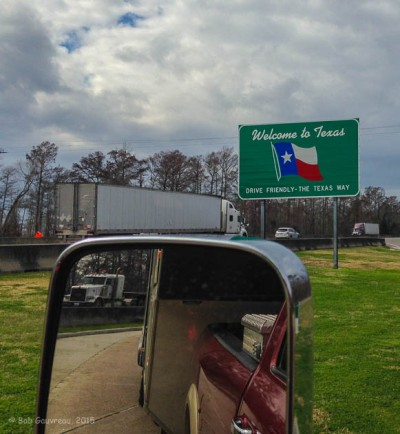 Entering Texas on the way back West - Mile Marker 899