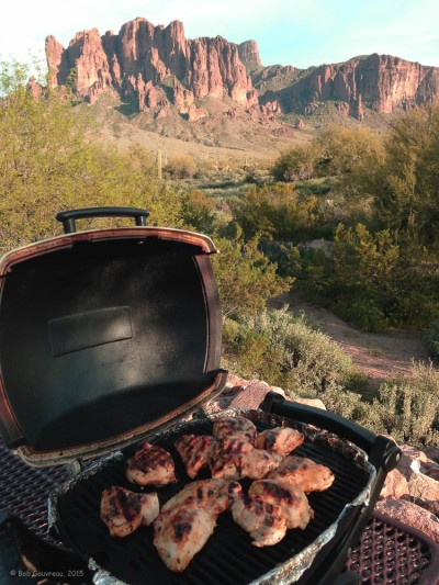 Cook'n chick'n, watching the sunset on the Superstition Mountains, Lost Dutchman State Park