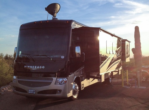 Our new RV basking in the Arizona sun, a 2015 Class A Winnebago Adventurer