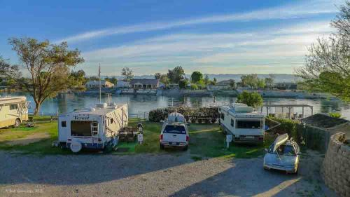 The view from our spot at Fender's River's Edge RV Resort.  Quiet place, lots of space and a place for Charlie to take a swim in the Mighty Colorado.