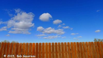Fence and sky, at the Shoshone/Bannock RV Park in Fort Hall, Idaho.