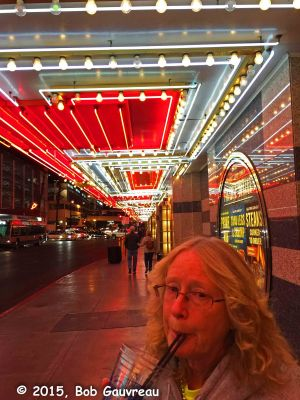 Last drink of the day, boarding the bus near Fremont Street for Sam's Town
