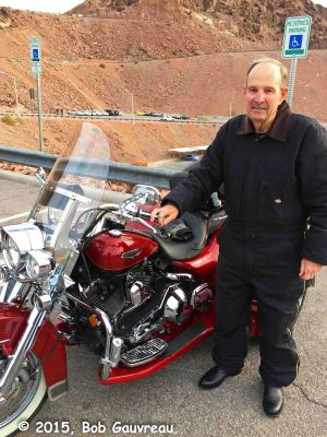 Friendly Harley trike guy, Boulder/Hoover dam; he must have had at least $75,000 tied up in the custom-built Road King conversion. Magnificent machine