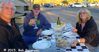 Gary, Bob and Dee Dee - Thanksgiving dinner in Death Valley