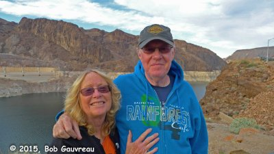 Dee Dee and The Bob, at Boulder/Hoover Dam; Lake Mead and 'bath tub ring' in the back ground.