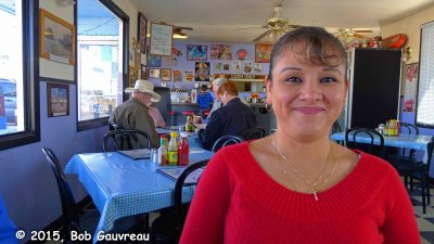 Our very friendly waitress at diner in Beatty, Nevada